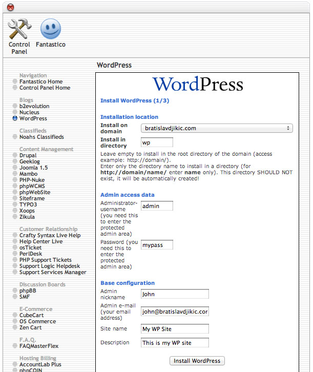 install wordpress via cpanel 3