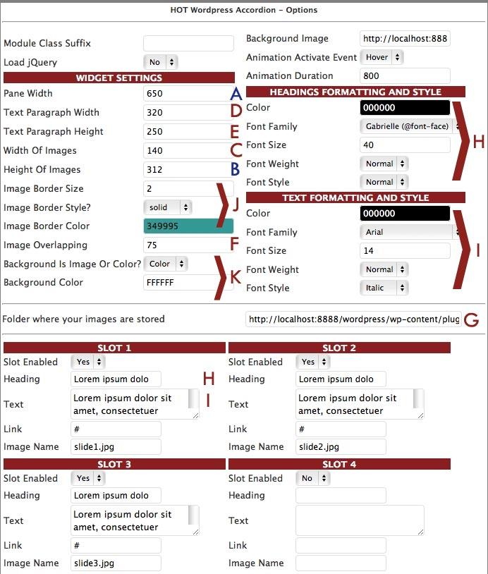 parameters of the accordion wordpress widget
