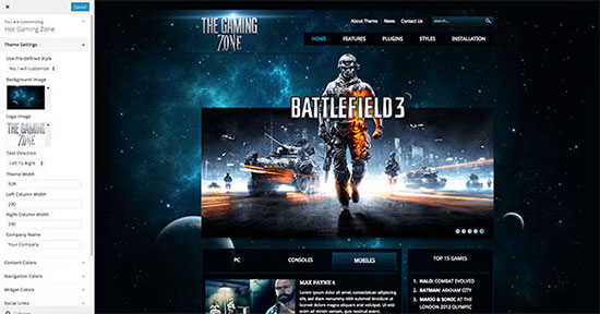 WordPress Gaming Theme - Gaming Zone - HotThemes