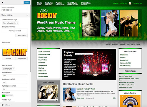 Live customizer in WordPress music theme