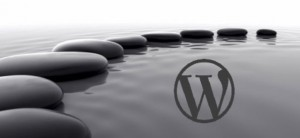 Stones on water with WordPress logo