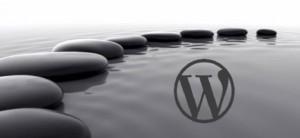 Stones on water with WordPress logo