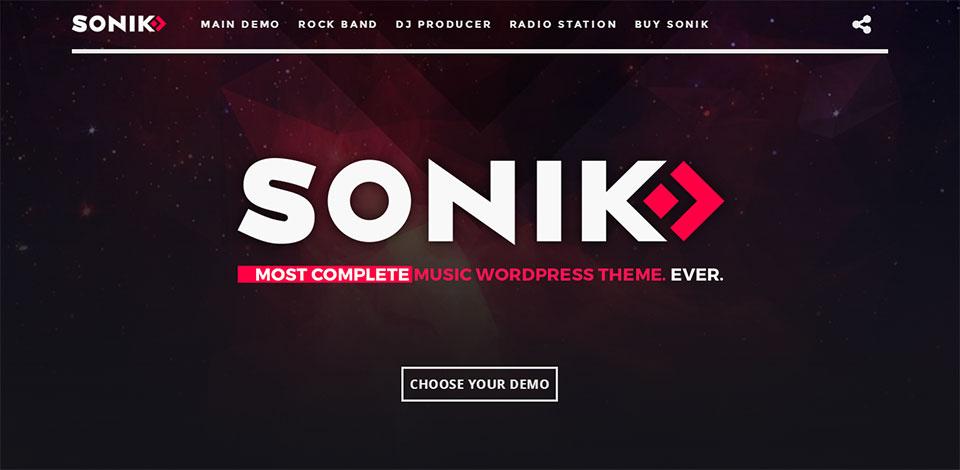 sonik wordpress music theme