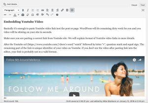 Embedding youtube video in WordPress