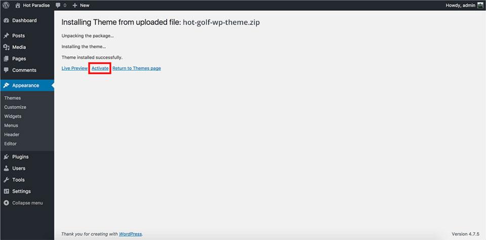 Golf theme installation - Activate theme