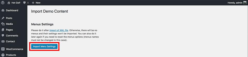 Golf theme installation - Import menu settings