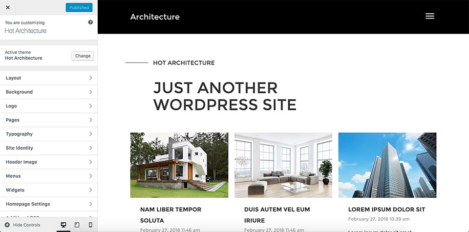 Architecture theme customizer