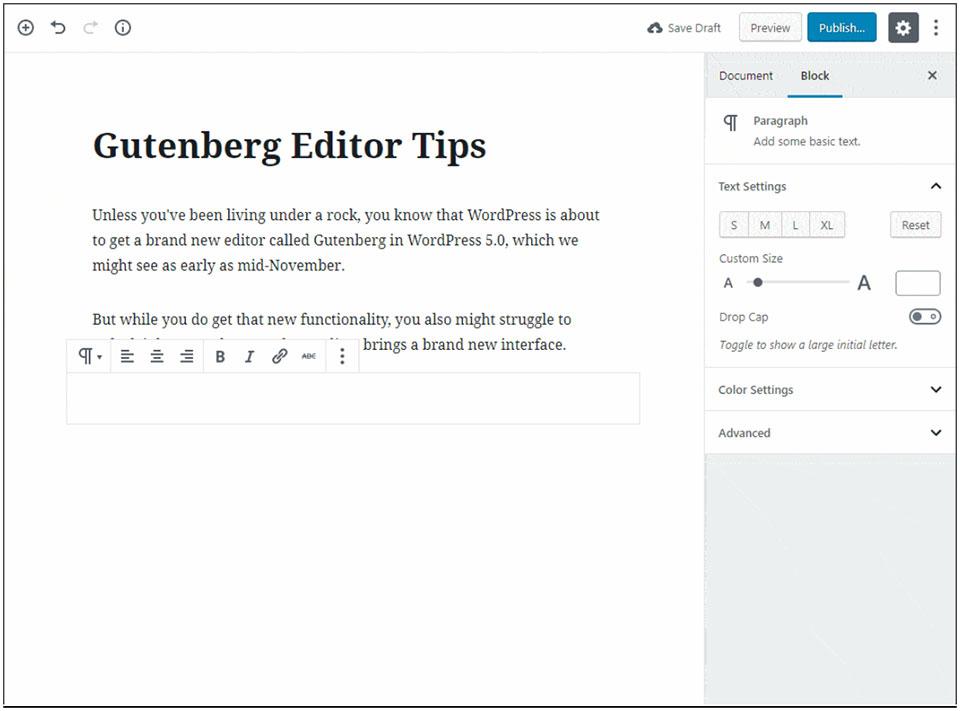 Gutenberg editor tips