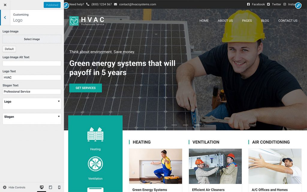 Customizer in HVAC theme
