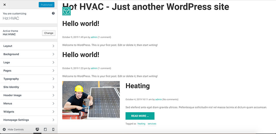 HVAC Theme Customizer