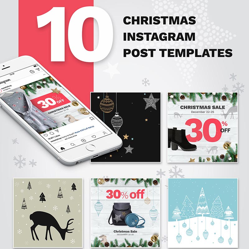10 Christmas Instagram Post Templates Social Media
