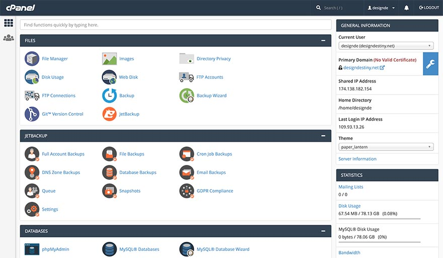 InterServer cPanel